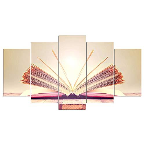 WSXYD 5 Piezas de Cuadros Modernos Imágenes Pintados al óleo sobre Lienzo Sala De Estar Decoración de Pared Pintura Infantil del hogar Framework Libro de sol-30x40 30x60 30x80cm