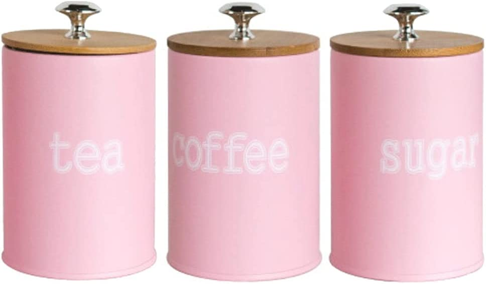 ZANZAN Metal Food Storage Tin with 5 5 popular ☆ popular 3 Airtight of Lid Bamboo Set