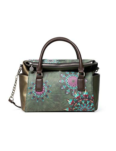 Desigual Damen Bols_Luna Rock Loverty Henkeltasche, Grün (Brown Oscuro), 14x24x33 cm