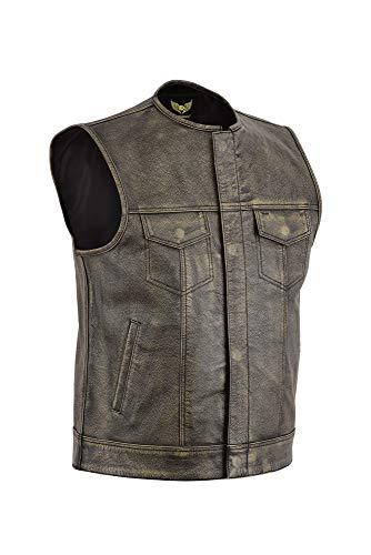 Leatherick SOA Gilet da motociclista da uomo in grana superiore senza colletto marrone invecchiato per equitazione e gilet stile taglio alla moda, stile vintage (M - EUR50)