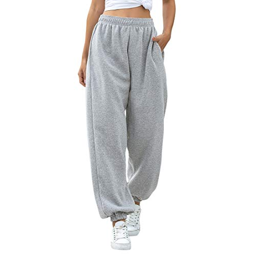 MoneRffi Damen Jogginghose Sporthosen Lange Yoga Hosen Loose Casual Jogginghose High Waist Loose Fit Elastischer Bund Freizeithosen Hohe Trainingsanzug Hosen Sweathose mit Taschen(Z#Grau,XL)