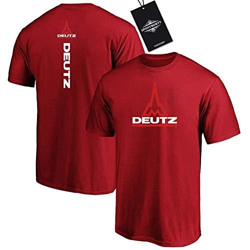MAUXpIAO Hombres Undergo 100% Algodón Confortable Deu-Tz Corto Manga Redondo Cuello Camisetas Y /  Rojo/XL
