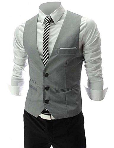 Zicac Mens Top Designed Casual Slim Fit Skinny dress Vest Waistcoat (M,Gray)