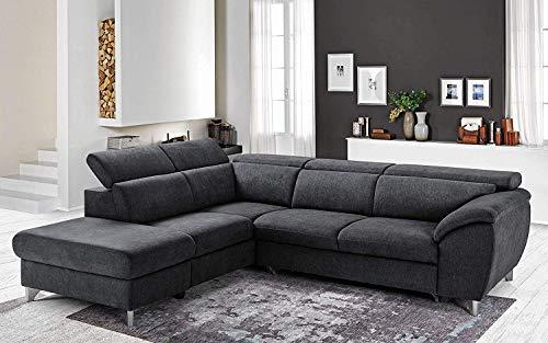 Dafne Italian Design Sofá esquinero de 3 plazas con chaise longue a la izquierda, color gris antracita, 271 x 222 x 94 cm