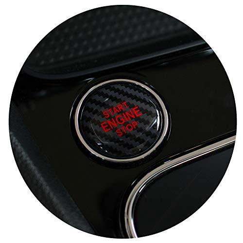 Gel Emblem Start Stop Knopf Abdeckung Aufkleber Keyless GO Carbon Druckschalter Tastenabdeckung Cover Zündung – Finest Folia (Carbon Schwarz/Rot)