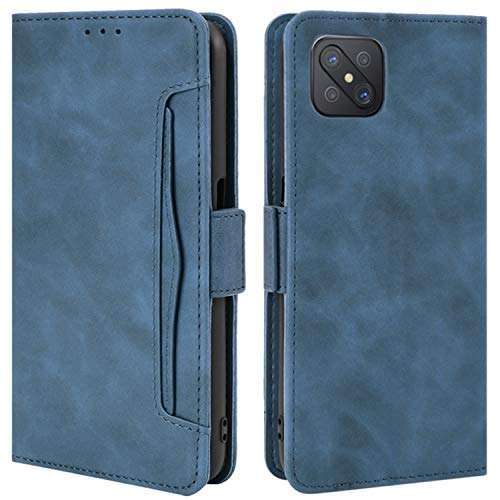 HualuBro Handyhülle für Oppo Reno4 Z 5G Hülle Leder, Flip Hülle Cover Stoßfest Klapphülle Handytasche Schutzhülle für Oppo Reno4 Z 5G Tasche (Blau)