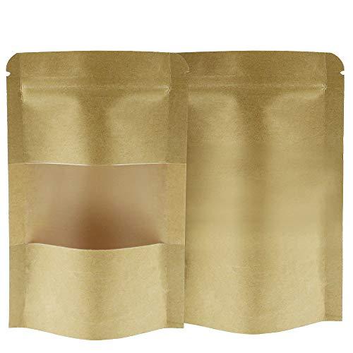 TXErfolg 50 STK Kraftpapiertüten Wiederverwendbarer 9 * 14cm für Verpackung von kaffee tee snack Nüsse Gewürze Kekse Kleine Braune Papier Beutel Mit Fenster Papier Tütchen kraftpapier mit Boden