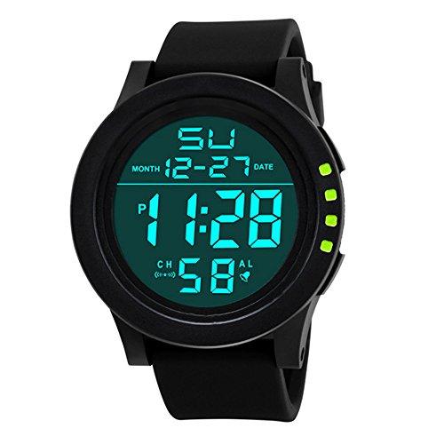 Sport Watch, 50M Waterproof Watch, Sport Wrist Watch for Men Women Kids, Digital Watch with Alarm Date and Time (Green -1)