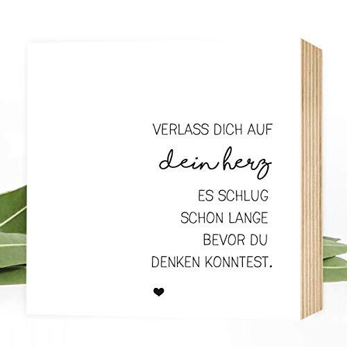 Wunderpixel® Holzbild Verlass dich auf dein Herz - 15x15x2cm zum Hinstellen/Aufhängen, echter Fotodruck mit Spruch auf Holz - schwarz-weißes Wand-Bild Aufsteller zur Dekoration oder als Geschenk