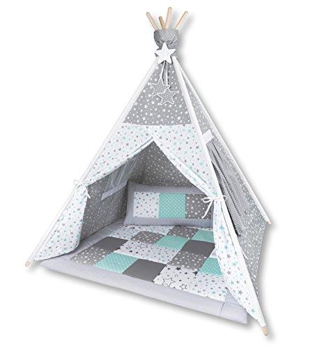 Amilian® Tipi Spielzelt Zelt für Kinder T41 (Spielzelt mit der Tipidecke und Kissen)
