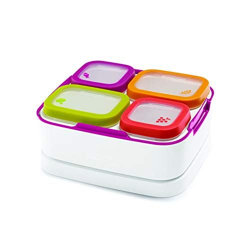 Rubbermaid Balance Pre Portioned Meal Kit Food Storage Containers, White/Beet Red, 11 Piece Set including Lids|Bento Box Style | Microwave and Dishwasher Safe