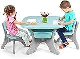 DREAMADE Set Tavolo e Sedie per Bambini, 1 Tavolino e 2 Sedie, Tavolo da Gioco Bambini con Contenitore Smontabile, Set di Mobili Colorato per Bambini con capacità di Peso 80kg(Menta)