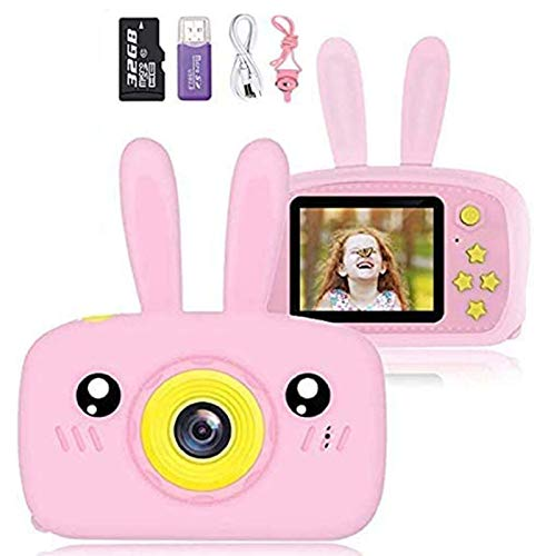 NuoYaRen Kids Camera for Girls Boys, 1080P FHD Digital Video Camcorder with 28 Funny Filters, Soft Silicone Cute Rabbit Shell for 3-14 Years Toddler Children Best Birthday Gift-Pink