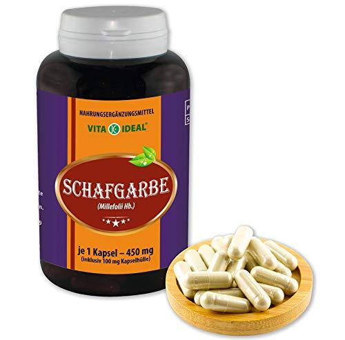 VITA IDEAL ® Schafgarbe (Millefolii Hb.) 360 Kapseln je 450mg, aus rein natürlichen Kräutern, ohne Zusatzstoffe