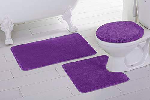 Mk Home 3pc Non-Slip Solid Black Bath Set for Bathroom with Bath Rug, Contour Mat and Lid Cover New # Angela… (Dark Purple)