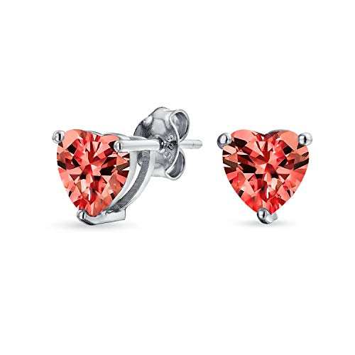 1Ct Red Cubic Zirconia Heart Shaped AAA CZ Solitaire Stud Earrings For Women Simulated Ruby 925 Sterling Silver 7MM
