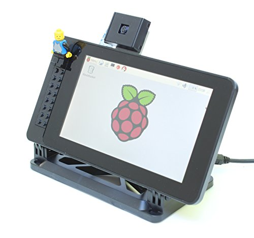 """SmartiPi Touch 1 - Case for The Official Raspberry Pi 7"""" Touchscreen Display - Building Block Compatible Front and Adjustable Angle"""