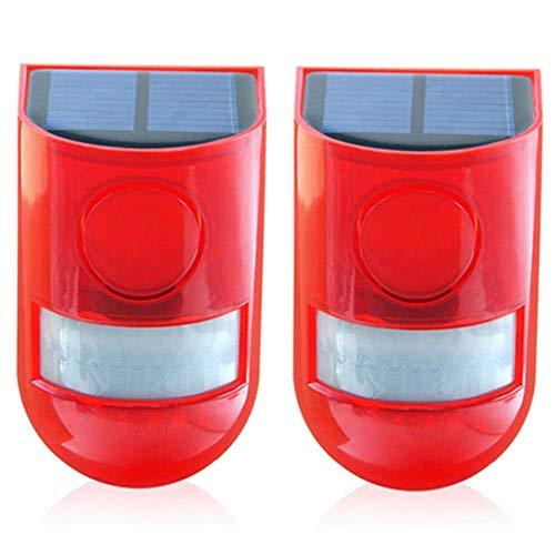 Solar Sonido Alarma Luz Estroboscópica Intermitente Luz LED, IP65 Impermeable 110dB Alto Seguridad Sistema de Alarma para Hogar Chalet Granja Apartamento Yardas, Audible y Visual Alarma - 2pcs