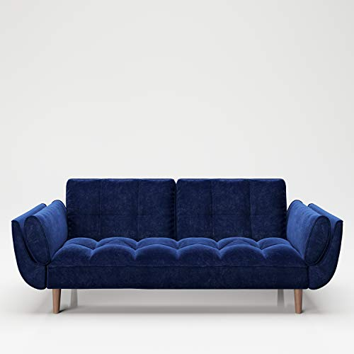 PLAYBOY Sofa mit Bettfunktion, Samtstoff in Blau, stabile Massivholzfüsse, Bettsofa mit Verstellbarer Rückenlehne, 2er Sofa, 3er Sofa, Sofabett, 2-Sitzer, 3-Sitzer, Retro-Design, Club-Stil