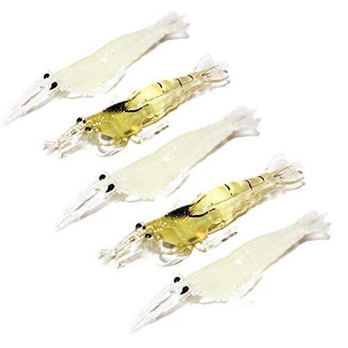 Chytaii 5X Crevette Artificielle Souple Appât Amorce Leurre en Silicone Soft Bait Lures Pêche Lumineux Transparent Aléatoire