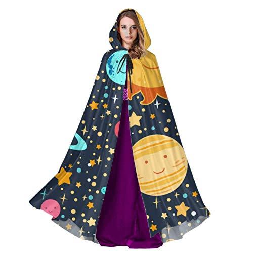Yushg Conjunto de Planetas con Caras en Estrellas Capa de Capa para Mujer Capa de Capa para Adultos 59 Pulgadas para Navidad Disfraces de Halloween Cosplay