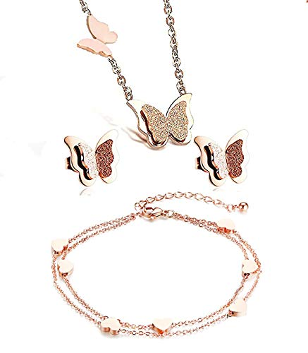baobei butterfly necklace 14k rose gold stainless steel butterfly pendant necklace and earring bracelets jewellery set for women Girls Nickel Free with jewellery box