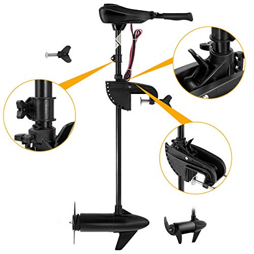 Goplus Electric Trolling Motor 46/55/86 LBS Thrust Transom Mounted 8 Speed with Adjustable Handle for Fishing Boats Freshwater and Saltwater Use (55 LBS)