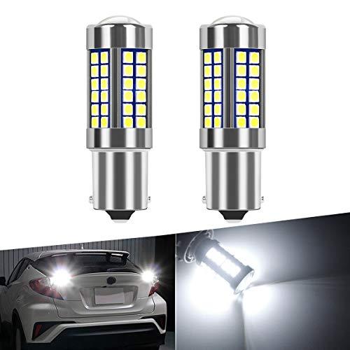 SanGlory 2 x Lampadine LED Auto P21W 1156 BA15S Canbus Sensa Errore 54-SMD 3030 LED Ultra Luminoso Luce Retromarcia Posteriore Diurne Bianca Xenon 6000K, DC 12V