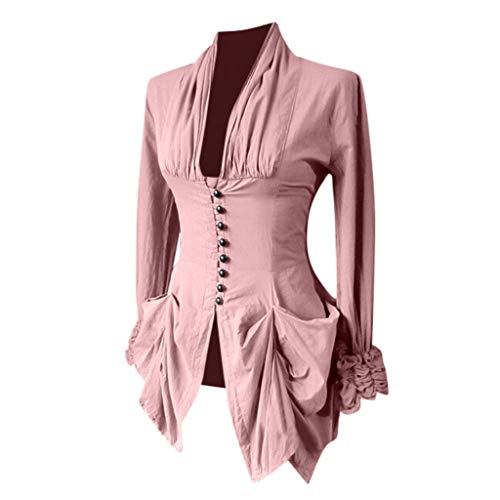 AmyGline Gothic Kleidung Damen Frack Mantel Mittelalter Vintage Retro Asymmetriech Langarm Oberteil Jacke Punk Kostüm