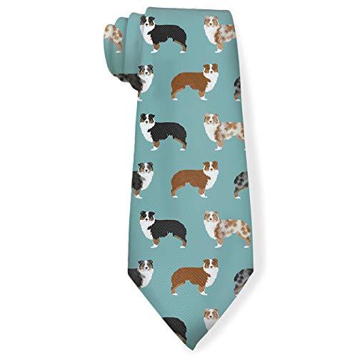 Funny Neckties Cute Australian Shepherds Dogs Fashion Wide Novelty Neck Ties For Men