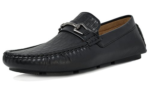 BRUNO MARC NEW YORK Men's PHILIPE-01 Black Penny Loafers Moccasins Shoes – 9.5 M US