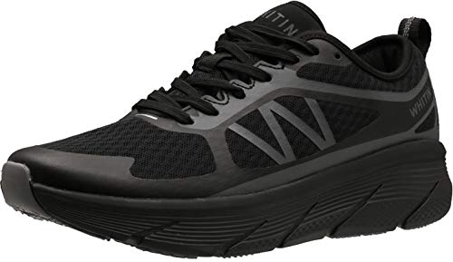 WHITIN Men's Cushioned Running Fitness Workout Shoes Sports Jogging for Male Athletic Gym Size 11 Breathable Lightweight Road Oversized Midsole Platform Sneakers Exercise Court Teenager Black 45