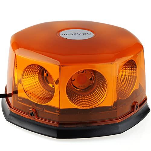 Rotativo Luz LED estroboscópica, 12V-24V Amarillo faro intermitente de advertencia de magnético con 16 pies cable para vehículos, tractores, carros de golf, UTV