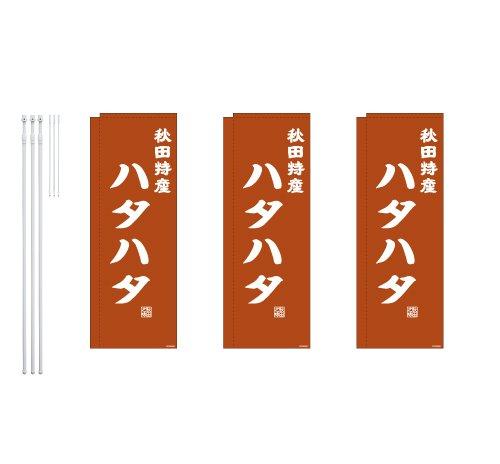 デザインのぼりショップ のぼり旗 3本セット ハタハタ 専用ポール付 スリムショートサイズ(480×1440) 袋縫い加工 BAK409SSF