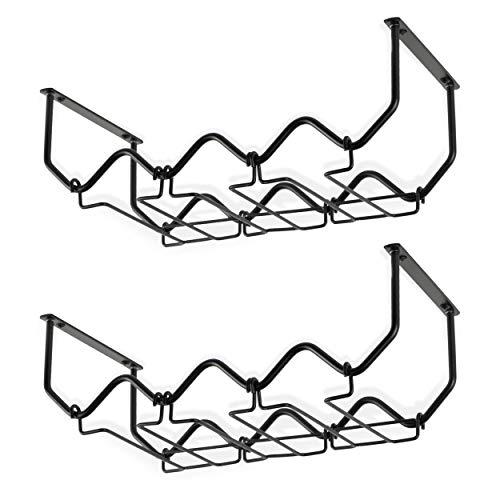 Wallniture PICCOLA Under Cabinet Wine Rack and Glasses Holder, Kithcen Organization and Storage Rack, Metal Black Set of 2