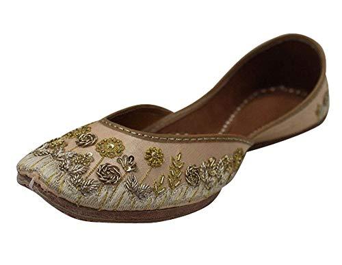 StopnStyleIndian Shoes Punjabi Jutti for Ladies Bridal Shoes Khussa Shoes Mojari Saree Jooti (9.5) Peach