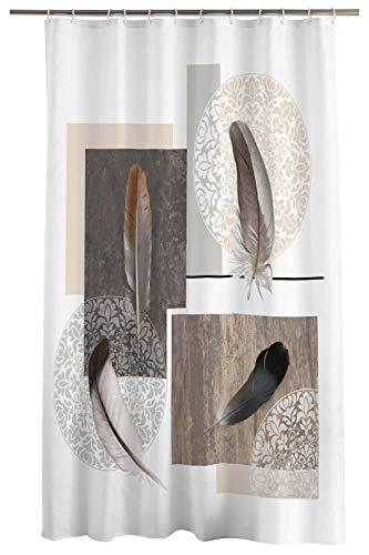 one-home Duschvorhang 180x200 cm Feder weiß braun grau Wasserabweisend Badewannen Vorhang
