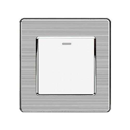 Interruptor Basculante De 1 VíA De 1 Unidad, Interruptor De Pared De 250 V 16 A, Panel De Acero Inoxidable, 86 Mm * 86 Mm, Blanco/Negro/Dorado-Blanco_1gang 1way