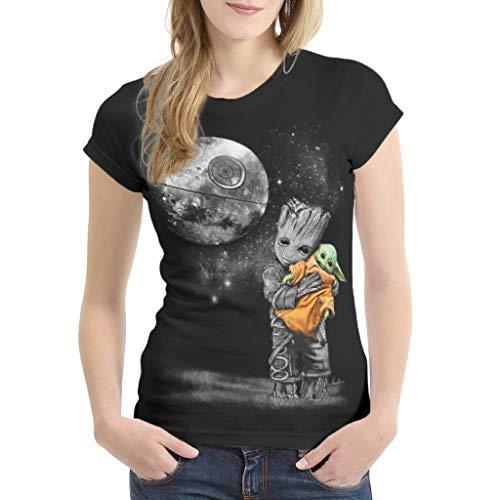 YxueSond Damen Casual Baby Groot Hugging Yoda T Shirts T-Shirts Retro Tops Tees für Frauen Gr. X-Large, weiß