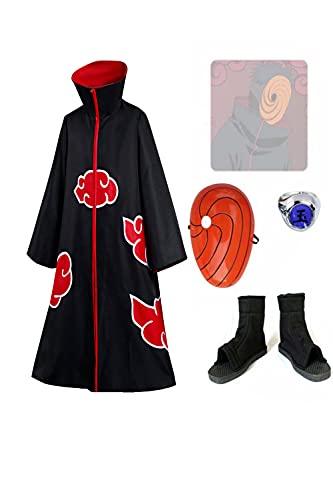 COSMOVIE Akatsuki Cloak Costume Uchiha Obito Halloween Cosplay Uniform Full Sets, Medium