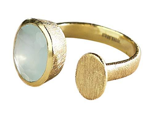 Vurmashop Anello con pietra acquamarina in oro 18 k da donna – Anello con gemma semi-preziosa naturale Aqua Calcedonia e placcato Oro, 16,5, colore: blu, cod. R-0477
