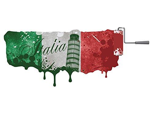 GRAZDesign Klebefolie Italien Landkarte - Türaufkleber Rom - Wandtattoo Flagge / 139x57cm / 721197_57