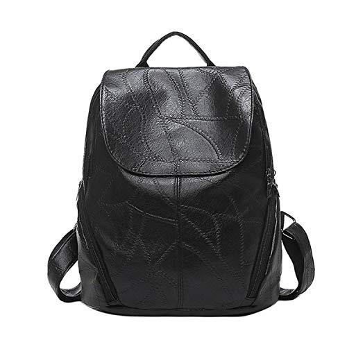 Fashion Women Leather Backpacks Waterproof Ladies Cute Backpacks Girls Kids Stone Cover Shoulder Bag mochilas Feminina,Black