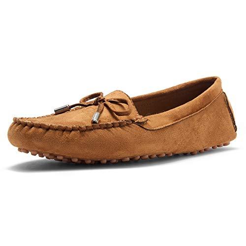 Herstyle Canal Damen Casual Bowknot Penny Loafers Mokassins Fahren Schuhe Slip on Flache Bootsschuhe, Beige (hautfarben), 37 EU