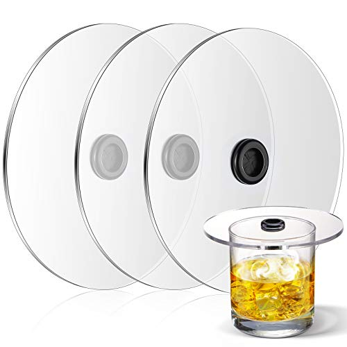 3 Pieces Smoke Infuser Lids Cocktail Drinks Smoking Covers Handy Smoke Cup Lids for Cocktail Drinks Accessories