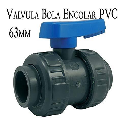Kogelventiel om te lijmen 63 mm voor het lijmen van PVC Hoogwaardig ventiel, gemaakt in Spanje. Maximale druk 6 bar metrische serie. Kogelzitafdichtingen van HDPE.