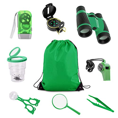 Uong Draussen Forscherset, 8 Stück Kinder Outdoor Exploration Spielzeug Lernspielzeug Adventure Set mit Fernglas, Kompass, Lupe, Taschenlampe, Pfeife, Rucksack für Camping Wanderungen