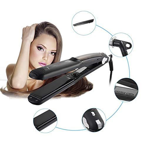 Plancha de pelo de vapor, alisador de cabello de plancha plana, alisador de pelo, alisador de cerámica con tecnología antiestática y apto para todos los tipos de cabello, apto para todos