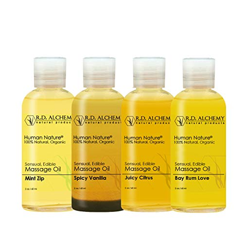 good massage oils 100% Natural & Organic Edible Massage Oil Sample Pack. Contains All 4 Flavors - Bay Rum Love, Juicy Citrus, Spicy Vanilla, Mint Zip. Best Massage Supply with Organic Oils.