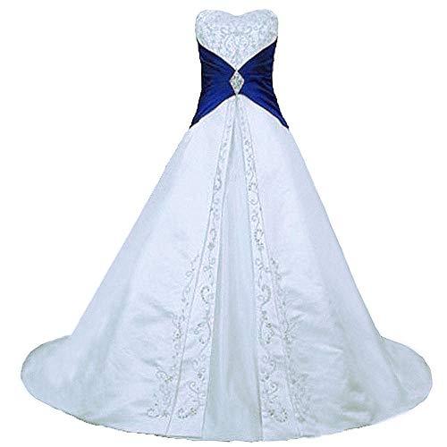 Zorayi Damen Elegante A-Linie Schnürung Stickerei Satin Brautkleid Hochzeitskleider Weiß & Blau Größe 46
